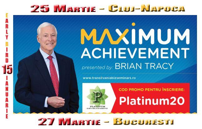 Bryan Tracy vine in 25 martie in Romania, un prilej foarte bun sa deschid noul an cu un articol dedicat lui. In calitate de parteneri ai evenimentului iti oferim o reducere de 20% la orice bilet achizitionat, folosind codul Platinum20.