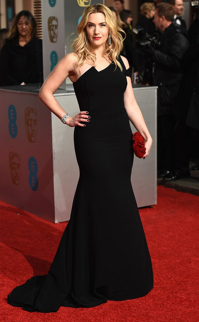 Kate Winslet opted for a black Antonio Berardi dress. 2016 BAFTA Film Awards