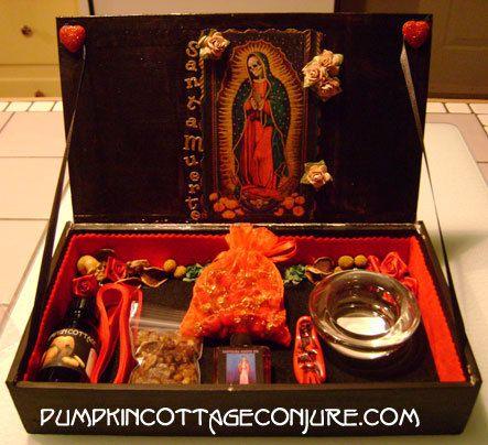 La Santisima Muerte Custom Portable Altar Shrine  - Santa Muerte, Most Holy Death, Hoodoo, Conjure, Voodoo
