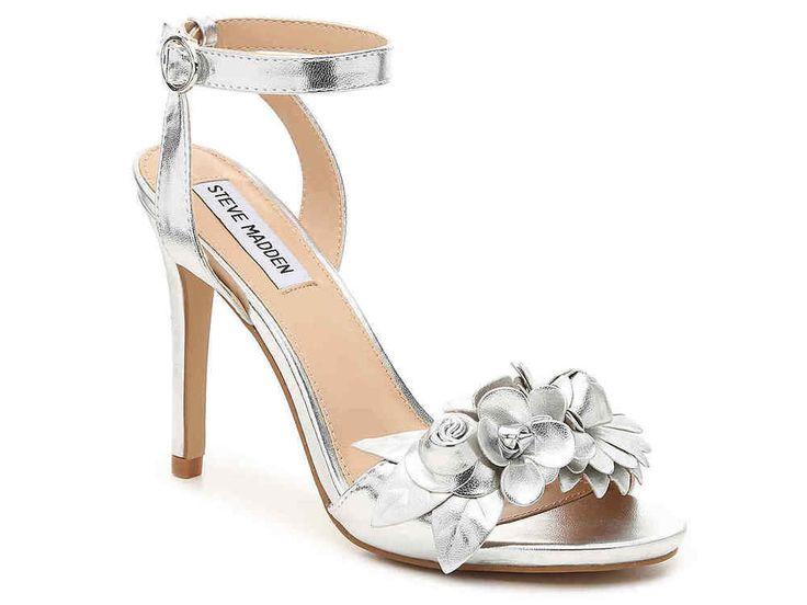$90 Steve Madden Sandals with Flowers Details Silver High Heels Wedding Size 6 #SteveMadden #Sandals #BridalorWedding
