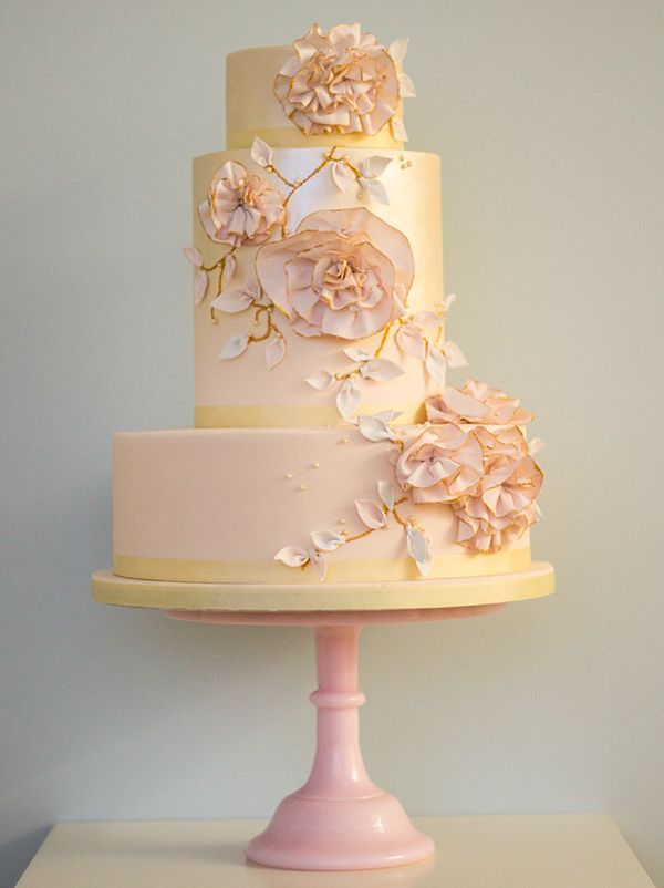 Floral wedding cake inspired by a Marchesa gown, by Rosalind Miller Cakes ~ Beautifully Decorated and Delicious Award Winning Wedding Cakes  http://www.rosalindmillercakes.com/