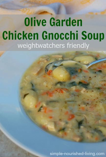 Olive Garden Chicken Gnocchi Soup is a copycat recipe made lighter with less fat, easy, creamy, delicious, 225 calories, 5 Weight Watchers Points Plus