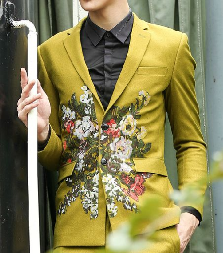 Amazing Pear Yellow Luxury Embroidered Mens Floral Blazer