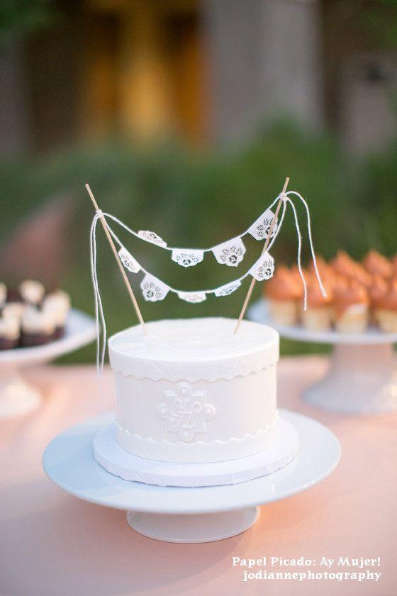 Papel picado miniature cake topper bunting - sets of 2 - LAS FLORES