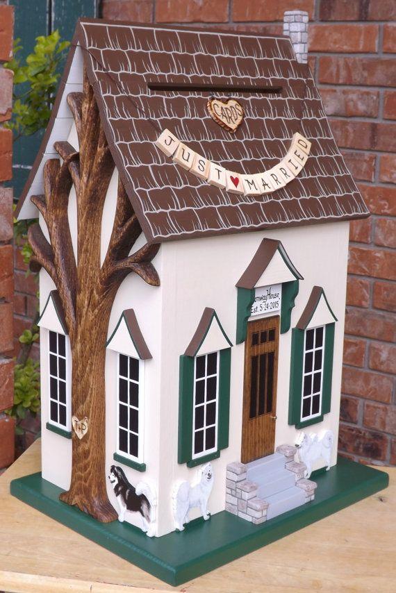 wood wedding card holders%0A Large Wedding Card Box Birdhouse Whimsical by mulberrylanefolkart