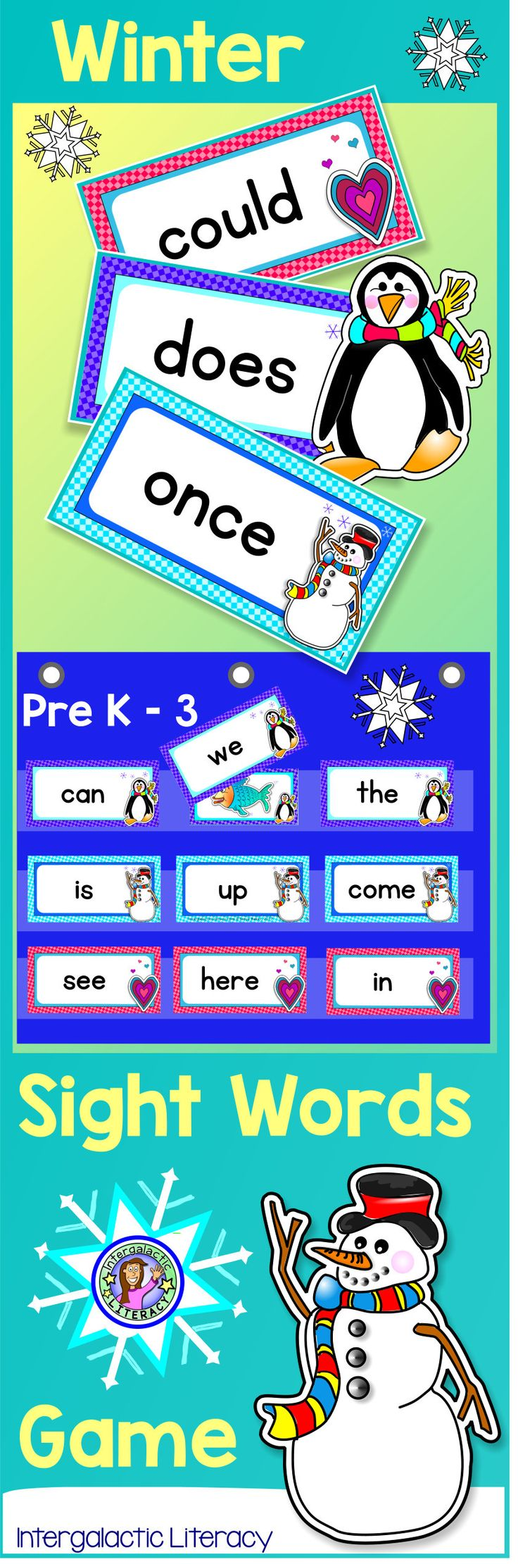 Perfect for Winter :)  A FUN & versatile sight word BUNDLE.  Use for games, flash cards, centers, or word walls!  Three themes included - covers Dolch sight words Pre-K - Grade 3.    A great way to capture student interest in learning high frequency words.  Available in individual sets or in one big super savings bundle :-)