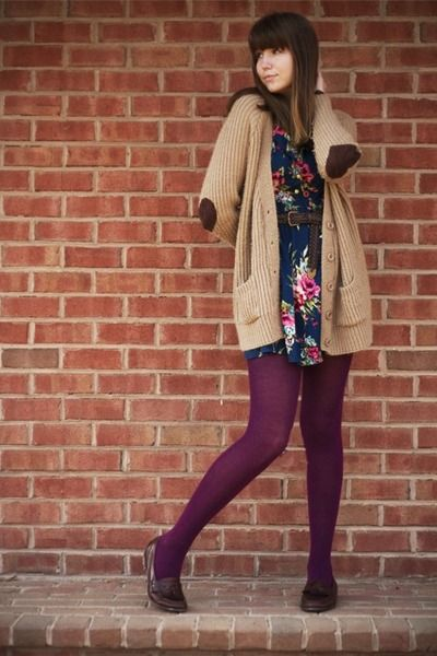 Navy-modcloth-dress-magenta-target-tights-camel-urban-outfitters-cardigan