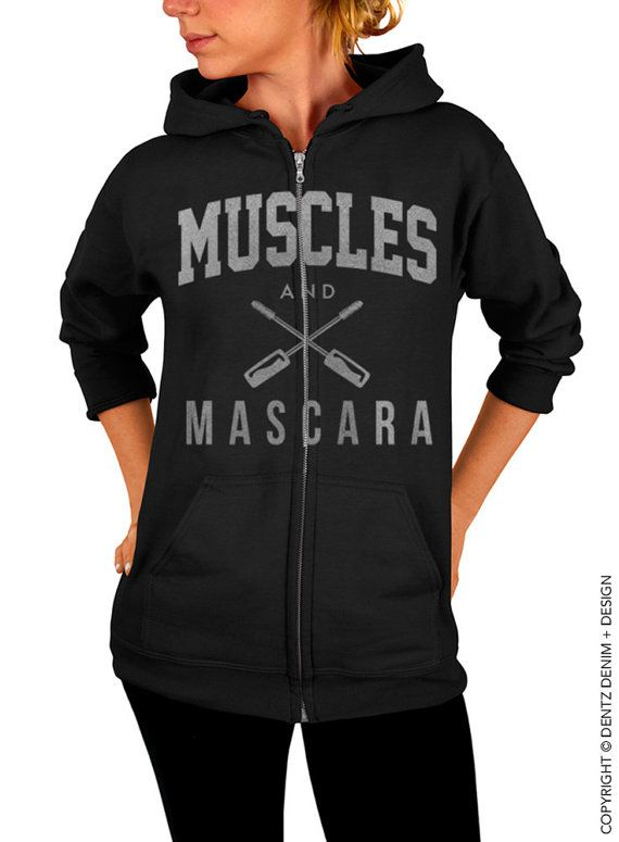 "Use coupon code ""pinterest"" Muscles and Mascara Zip Up Hoodie - Black with Silver Zip Up Hoodie - Hooded Sweatshirt - Gym Workout Apparel by DentzDenim"