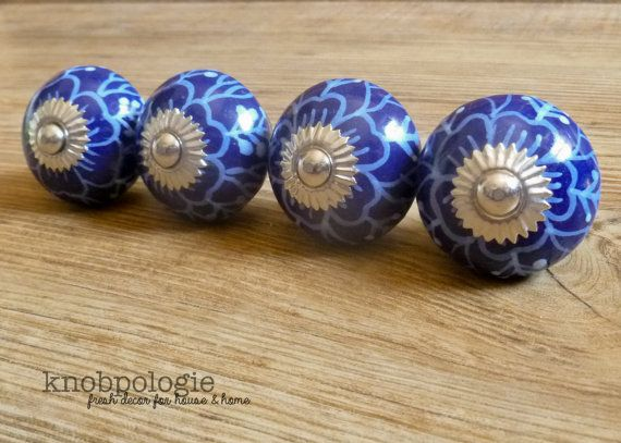 SET OF 4 - Blue and White Floral Ceramic Knob - Flower Drawer Pull - Decorative Knob Cabinet Kitchen Decor Cobalt Royal Mediterranean