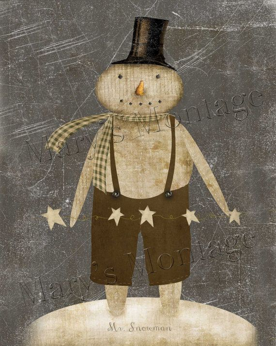 Mr Snowman, Primitive digital art, 8x10, download ...