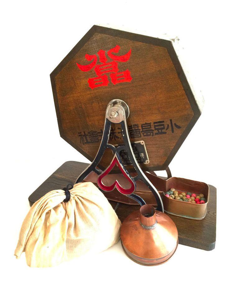 Rare Japanese Garapon Lottery Drawing Wheel w/ Soy Sauce Ad Taisho Circa 1920