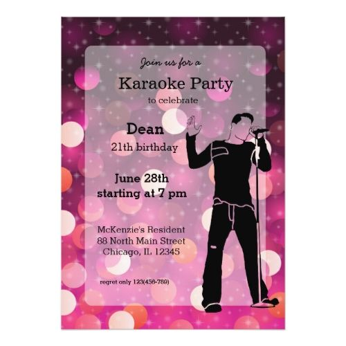 120 best Karaoke Birthday Party Invitations images – Karaoke Party Invitation