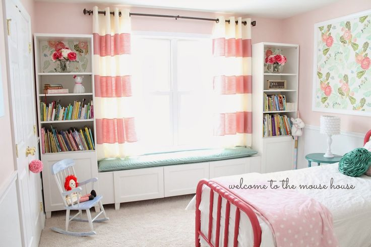 cute girl's bedroom, love the built ins with the window seat
