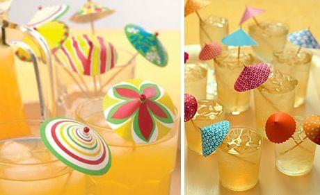 Como fazer guarda chuva de papel para drinks - Artesanato passo a passo!