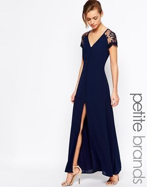 Enlarge Jarlo Petite Lucia Button Through Maxi Dress With Lace Shoulders
