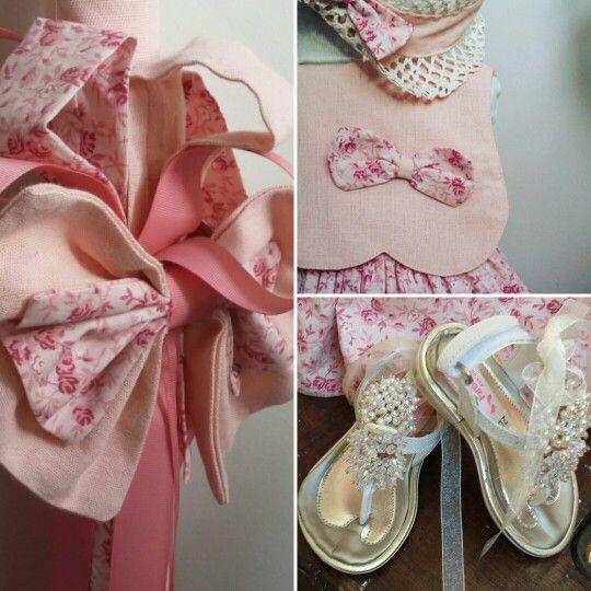 Ρομαντικό  floral φορεματάκι  και λαμπάδα  βάπτισης  ..άψογα συνδυασμένα  Για μια σουπερ νονά!#βάπτιση #γάμος #vaptisi #vaftisi #καραβι #navy #naftiko #vaptistika #pink #baby #wendding #greece #vintage