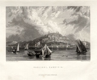 Cagliari, Sardinia. W.Westall steel engraving, engraved by E.Finden, published by Fullerton circa 1840.