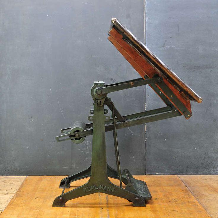 1930's Industrial Drafting Table German Factory Cast Iron Steel Top…