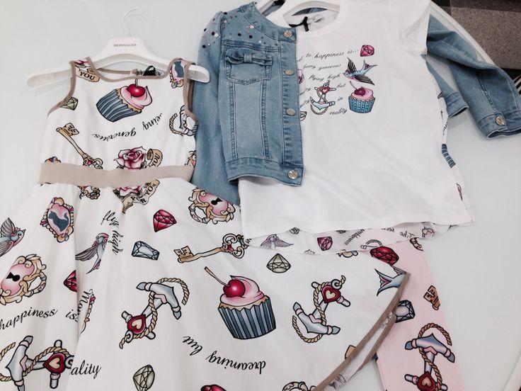 Monnalisa   Spring-Summer Collection   Girl #Monnalisa #spring #summer #kids' #fashion #girl #blue #jeans #cupcake #cutiepie #pink #so #much #love #white #tshirt  #dress #skirt #jacket #carryonjunior