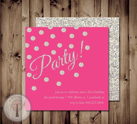 Glitter Confetti birthday invitation, sparkle birthday invite, birthday, retirement, engagement party, birthday party, party