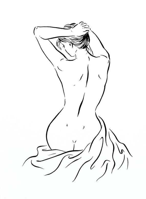 ORIGINAL gesture sketch artistic nude ink drawing, nude women sitting, Illustration, nu femme,line drawing for bathroom, bedroom art, gift – Natalia Eck