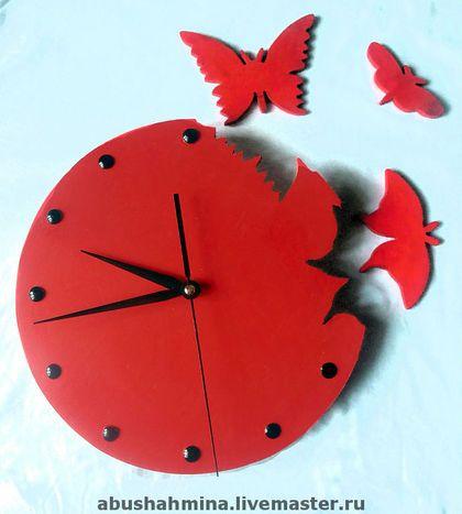 """часы """"красные бабочки"""" - часы,бабочки,красное,магия красного,красный цвет"""