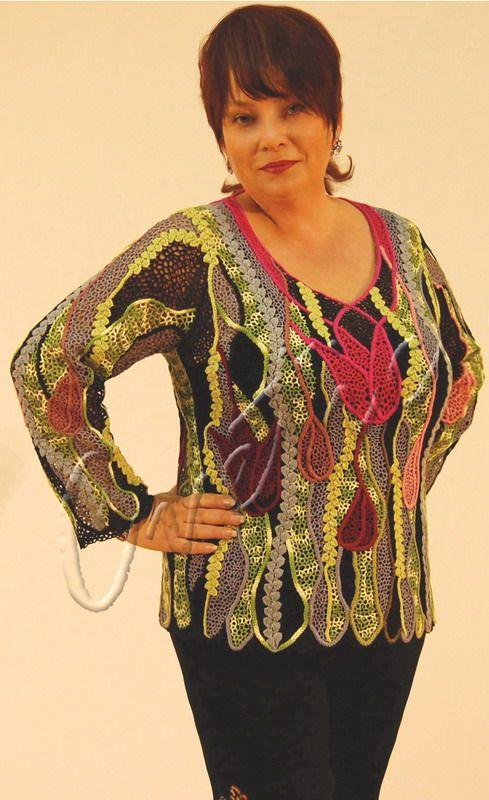 """Stained Glass tulips"" (crochet, crocheting top, crochet tunic, irish lace)"