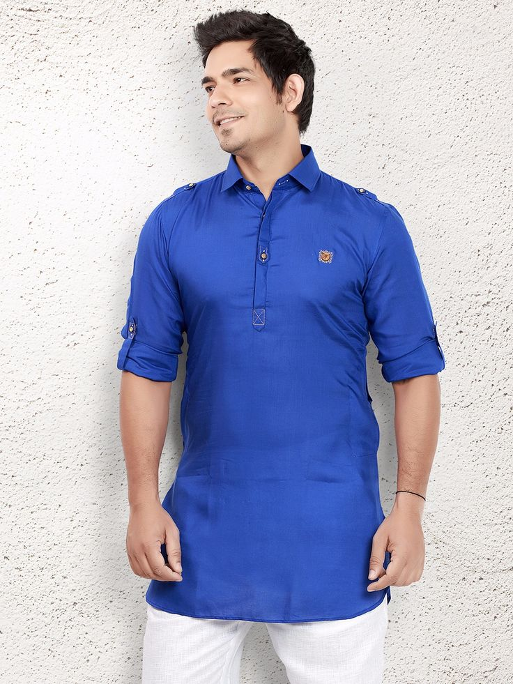 Royal Blue Cotton Short Pathani