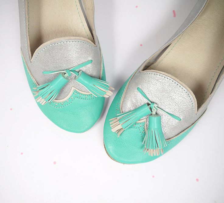 Loafers Brogue Shoes Handmade Slip on in Mint and Silver Leather by elehandmade on Etsy https://www.etsy.com/listing/206288542/loafers-brogue-shoes-handmade-slip-on-in