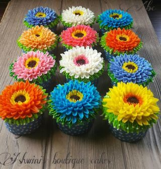 Shivani wanted to gift her hubby with his favourite gerbera flowers to celebrate their 12th anniversary Suggested her to have flowers in buttercream on cupcakes & she liked the idea enjoyed doing this
