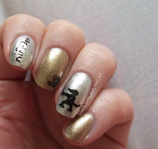 #31daynailartchallenge day 23: inspired by a movie, fantastic beasts and where to find them    Base coat - Rimmel london base coat top coat pro  Top coat - Orly sec n dry  Gold - OPI Glitzerland  Silver - OPI unfrost my heart  Black nail art pen - Sally Hansen nail art pen Black/noir  Black gelly with glitter - chi chi salon formula my bad    #31DC2017  #nailart #nailsoftheday #nails #notd #manni #manicure #nailpolish #nailsofinstagram #nails2inspire #nailstagram #nailswag  #harrypotter