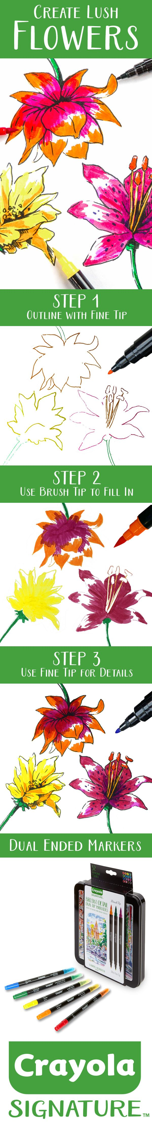 Draw lifelike flowers with Crayola Signature Series Dual Ended Brush & Detail Markers. One side is fine tip, one side is brush tip!