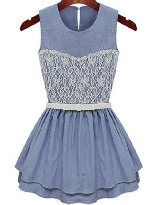Sweet Lace Trim Sleeveless Dress UK