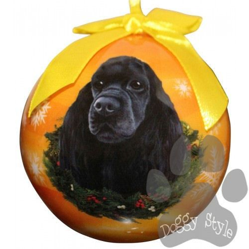 cocker spaniel black shatterproof dog breed christmas ornament