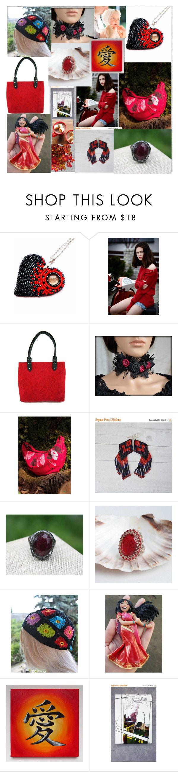"""""""red hot at fall evenings"""" by iwona-sikorska ❤ liked on Polyvore"""