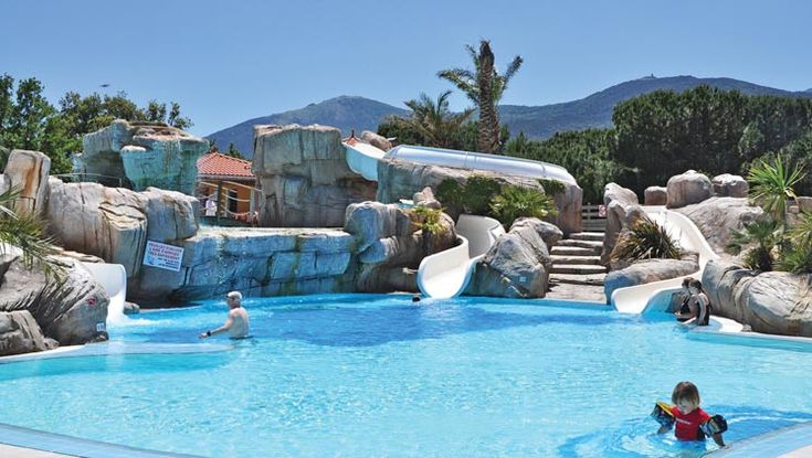 Poolside at Camping Bois-de-Valmarie, a camping location in Argeles-sur-Mer which consistently scores very highly in review ratings.