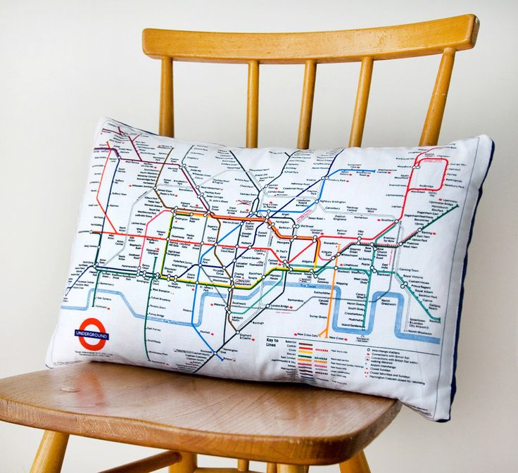 Upcycled London Underground Tube Map Cushion in Blue or Red -London throw pillow -transport cushion by HuntedandStuffed on Etsy https://www.etsy.com/listing/151261527/upcycled-london-underground-tube-map