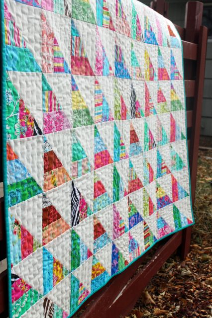 To the Point Tutorial from Amy Gibson. A jelly roll quilt using 3 strips in each HST.