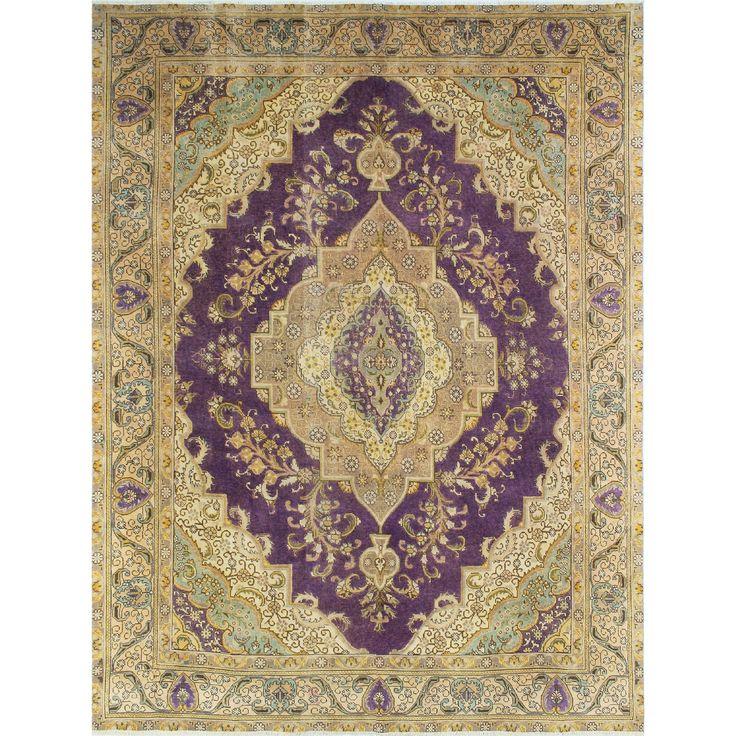 Noori Rug Distressed Overdyed Ashraf Hand-Knotted Purple Area Rug