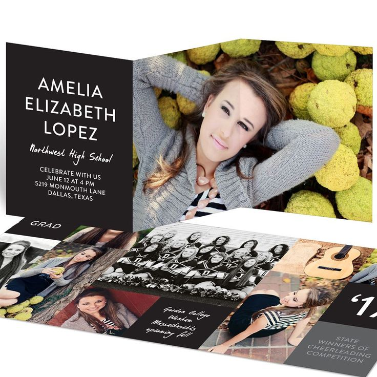 color block trifold graduation announcements pear trees and