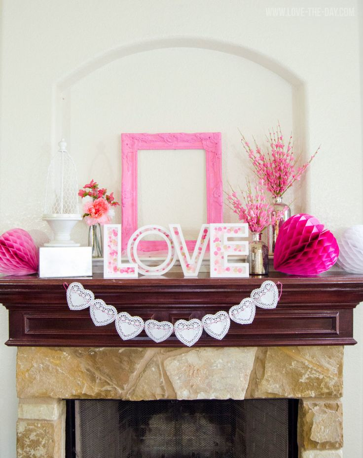 DIY Pink Valentine Mantel by Love The Day