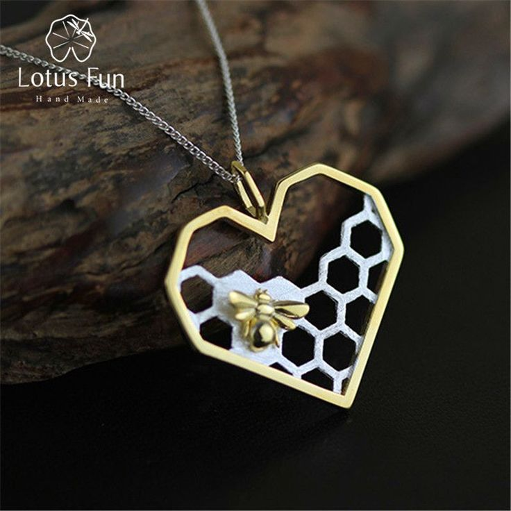 Lotus Fun Real 925 Sterling Silver Handmade Fine Jewelry Honeycomb Home Guard Love Heart Shape Pendant without Chain for Women #SterlingSilverHeart