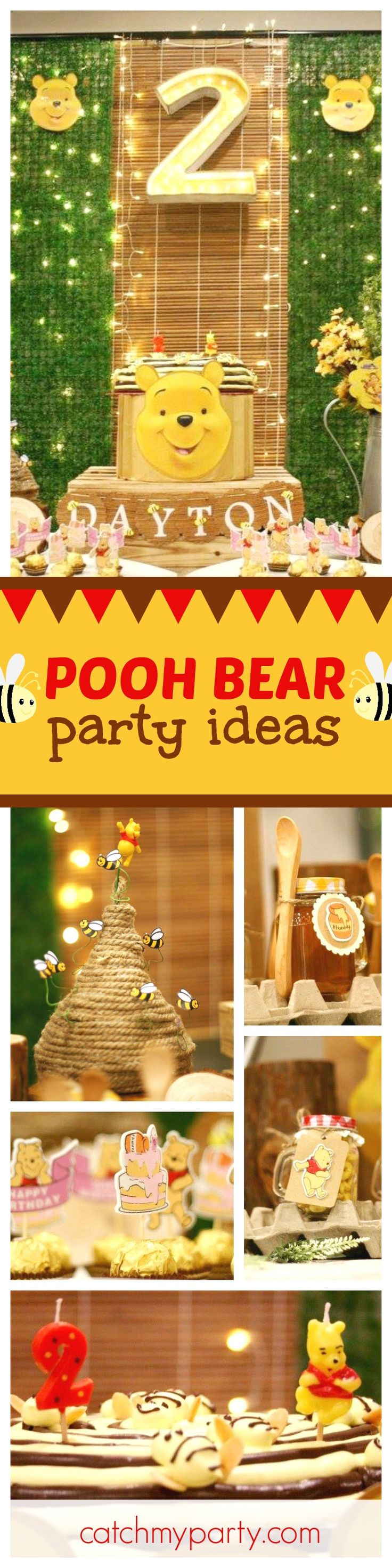 Check out this awesome Winnie the Pooh birthday party! The dessert table is adorable!! See more party ideas and share yours at CatchMyParty.com