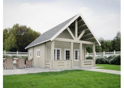 Top Cottage Blokhut Amoer, XXL tuinhuis, uitgevoerd met een enkele 3/4 glasdeur voorzien van dubbelglas en paneelisolatie, 6 draai-kiepramen voorzien van dubbel glas en een binnendeur. Binnen bevinden zich 3 compartimenten in te delen als woonkamer, keuken en inpandig toilet. Op de verdieping is ruimte voor één of meerder slaapkamers. Aan de voorzijde bevind zich een riante luifel. Leverbaar in 80, 95 en 120 mm dikte.