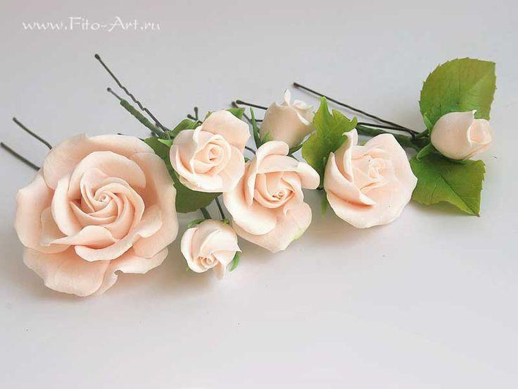 Свадьба : Кремовые розы для украшения прически - В НАЛИЧИИ - Fito Art