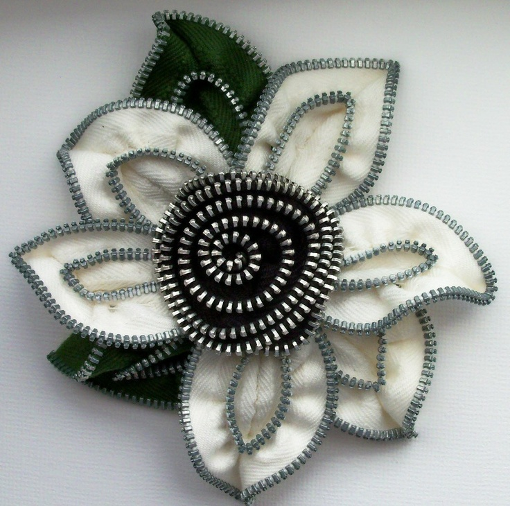 The thngs you can do with zippers!!  White and Black Floral Brooch / Zipper Pin approx 4 by ZipPinning, $38.00