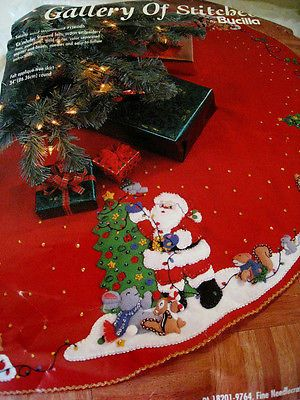 Bucilla Holiday CHRISTMAS FELT Applique TREE SKIRT Kit,SANTA & WOODLAND FRIENDS