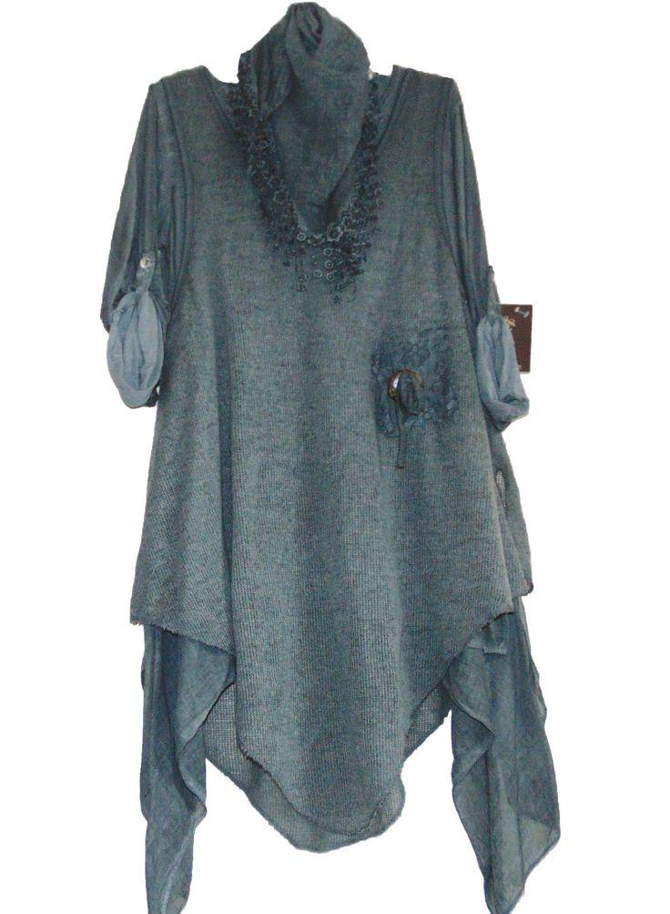 NEWWOMENS QUIRKY LAGENLOOK LAYERED 3 PIECE LONG LACE WOOL TUNIC DRESS UK 12-20 | eBay