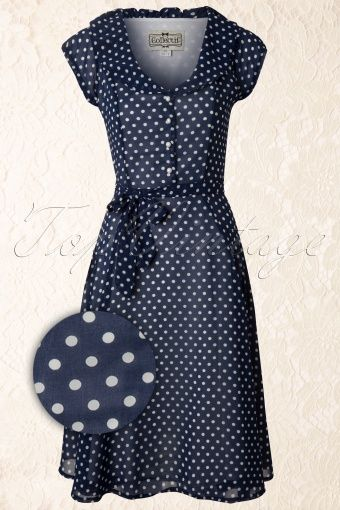 Collectif Clothing - 50s Violet Polka Dot Dress in Blue