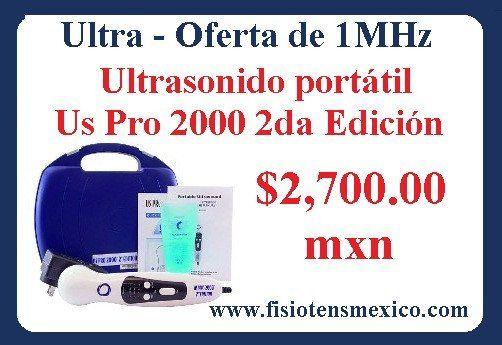 Oferta $2,700.00 mxn + Gastos de envío.  Ultrasonido portátil Us Pro 2000 2da Edición. Equipo portátil medico para fisioterapia y rehabilitacion física.  Visita nuestro portal web: www.fisiotensmexico.com